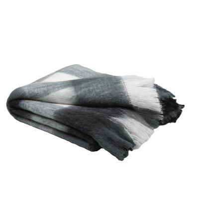 Burta Mohair Plaid Black/White/Grey Throw Blanket 50 X 60