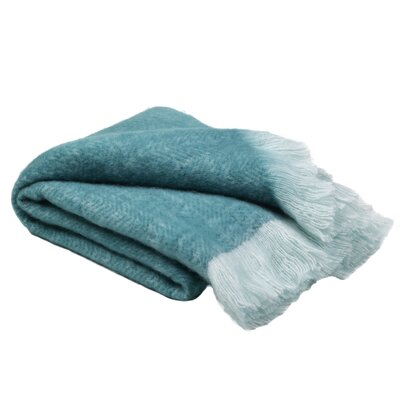 Jenine Mohair Solid Teal Throw Blanket 50 X 60