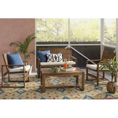 Beachcrest Home Black Diamond 4 Piece Sofa Set with Cushions Frame Finish: Natural, Cushion Color: Natural