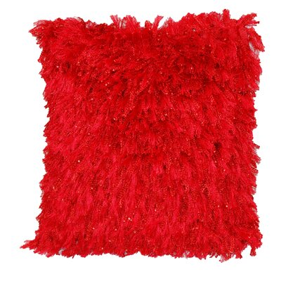 Towson Shiny Shag Throw Pillow Color: Red