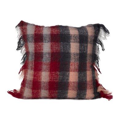 Calafia Mohair Check Throw Pillow Color: Red