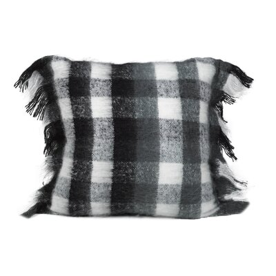 Calafia Mohair Check Throw Pillow Color: Black/White/Gray