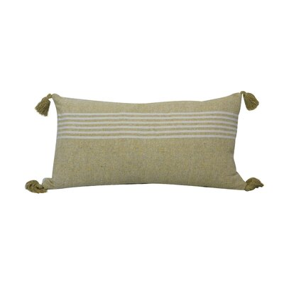 Toph Heathered Stripe Lumbar Pillow Color: Silver/Yellow