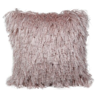 Throggs Shiny Shag Throw Pillow Color: Blush