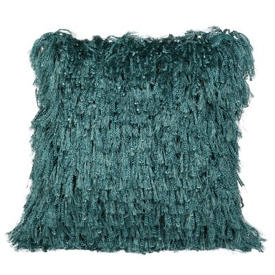 Throggs Shiny Shag Throw Pillow Color: Tropical Green
