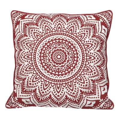 Toph Starburst Medallion Throw Pillow Color: Brick Red