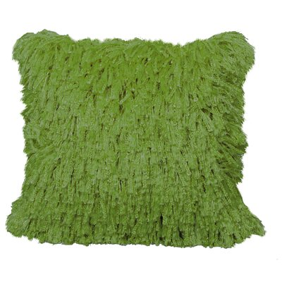 Defino Shiny Shag Throw Pillow Color: Lime Green
