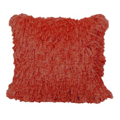 Defino Shiny Shag Throw Pillow Color: Orange