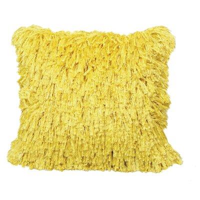 Defino Shiny Shag Throw Pillow Color: Yellow