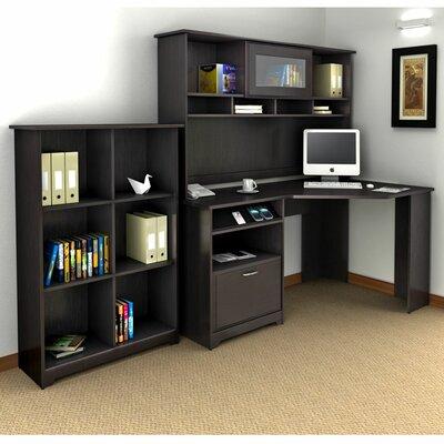 Bush Cabot Corner Desk with Hutch and Bookcase - Finish: Espresso Oak