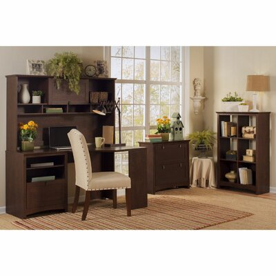 Buena Vista Corner Executive Desk with Hutch, 6-Cube Bookcase and Lateral File Product Picture 6184