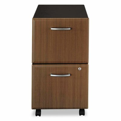 Two-Drawer Mobile Vertical File, 15-5/8w x20-3/8d, Sienna Walnut/Bronze Product Photo 145
