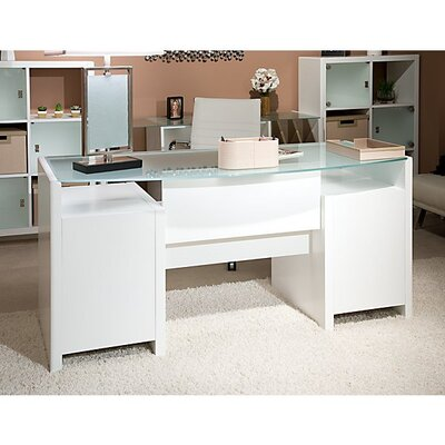 New York Skyline Bow Front Executive Desk Finish: Plumeria White Product Picture 6184