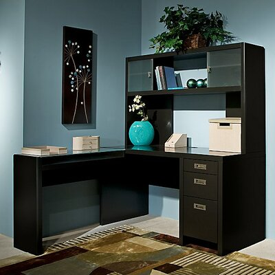 New York Skyline L-Shape Computer Desk with Hutch Product Picture 2690