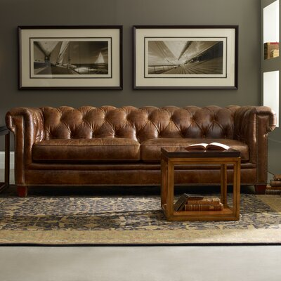 Stationary Leather Chesterfield Sofa