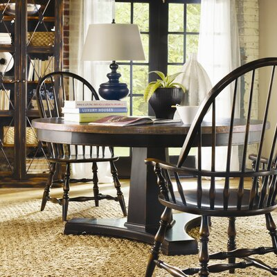 Sanctuary Round Pedestal Dining Table in Ebony & Copper