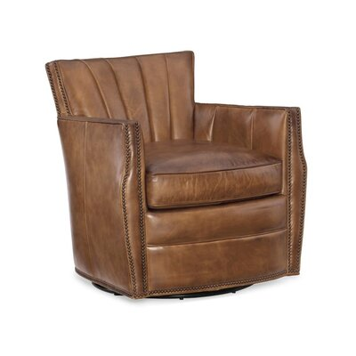 Carson Swivel Armchair Upholstery: Brown
