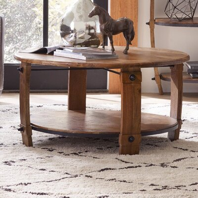 Glen Hurst Round Wine Barrel Coffee Table with Magazine Rack