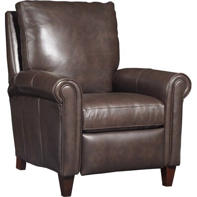 Haskins Leather Manual Recliner Color: Dark Brown