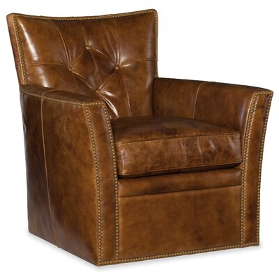 Conner Swivel Club Chair Upholstery: Light Brown