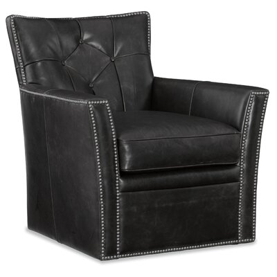 Conner Swivel Club Chair Upholstery: Black