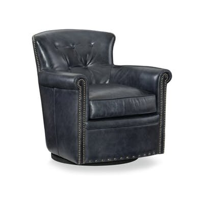 Jacob Swivel Club Chair Upholstery: Black
