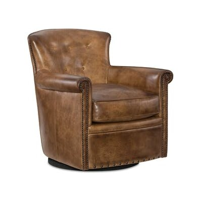 Jacob Swivel Club Chair Upholstery: Brown