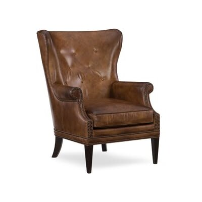 Maya Wing Wingback Chair Upholstery: Medium Brown