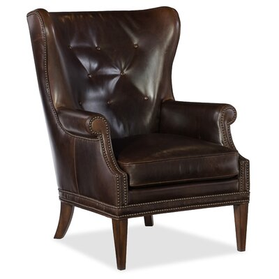 Maya Wing Wingback Chair Upholstery: Dark Brown