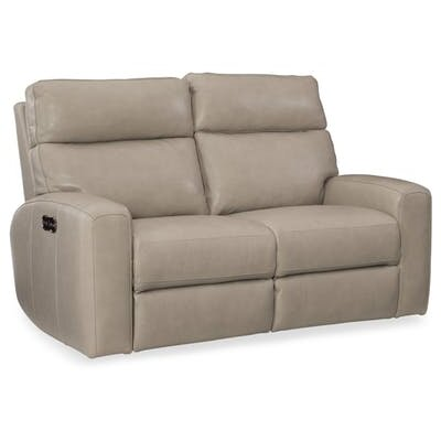 Mowry Power Motion Leather Reclining Loveseat Upholstery: Cream