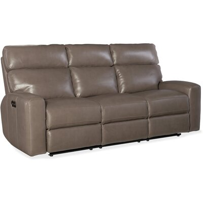Mowry Power Motion Leather Reclining Sofa Upholstery: Gray