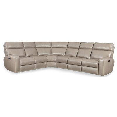 Mowry Power Motion Leather Reclining Sectional Upholstery: Beige