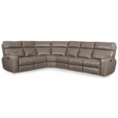 Mowry Power Motion Leather Reclining Sectional Upholstery: Gray