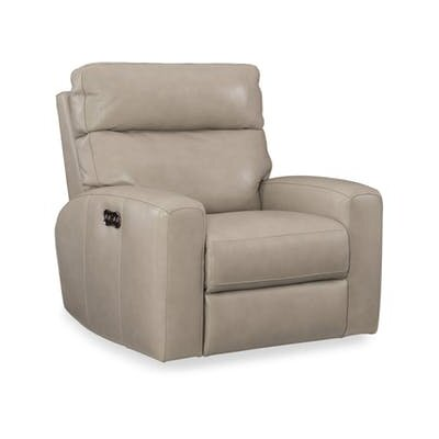 Mowry Motion Leather Power Recliner Upholstery: Cream