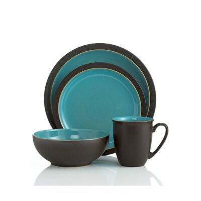 Duet 4 Piece Place Setting Color: Brown and Turquoise DUE2-100BT