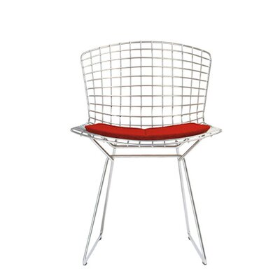 Bertoia Side Chair with Seat Pad Frame Finish: White, Upholstery: Mariner Navy