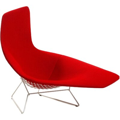 Bertoia Asymmetric Chaise with Full Cover Upholstery: Mariner Red, Frame Finish: White