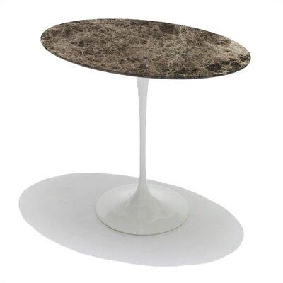 Cheap Knoll Saarinen Oval Side Table Top Finish: Brown Emperador Natural Marble, Base Finish: Black (KLL1104_2199660_2199668)