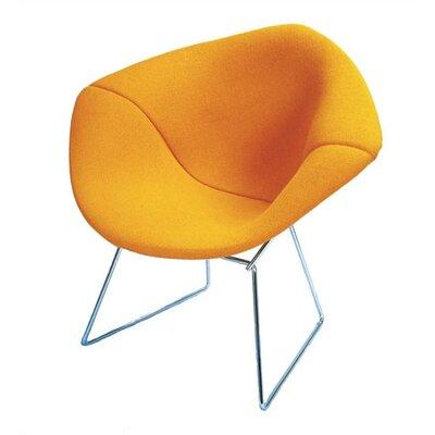 Bertoia Diamond Chair with Full Cover Frame Finish: Chrome, Upholstery: Mariner Black