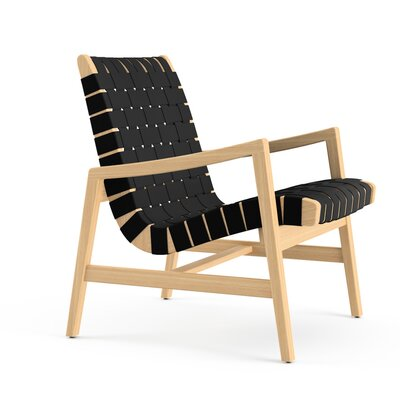 Risom Arm Lounge Chair Upholstery: Cotton - Khaki, Frame Finish: Light Walnut