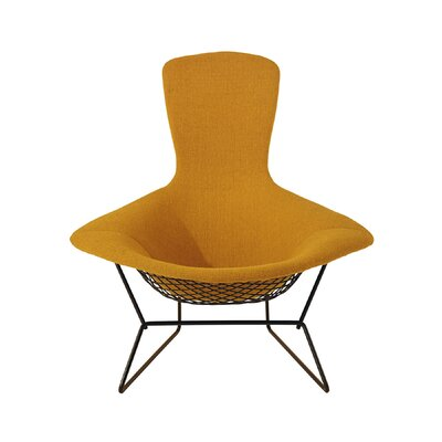 Bertoia Bird Chair with Full Cover Frame Finish: White, Upholstery: Classic Boucle Onyx