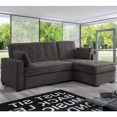 Lancaster Dream Reversible Sleeper Sectional Upholstery: Dark Gray