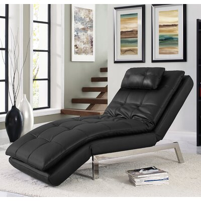 Vienna Convertible Chaise Lounge Upholstery: Black