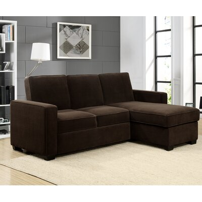 Charlie Sleeper Sectional Upholstery: Dark Brown