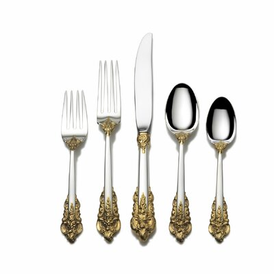 Wallace-grande Baroque Gold Accent 66 Piece Place Set With Dessert