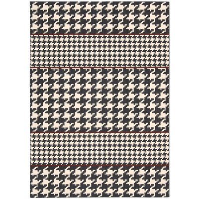 Griffith Domino White/Black Area Rug Rug Size: 36 x 56