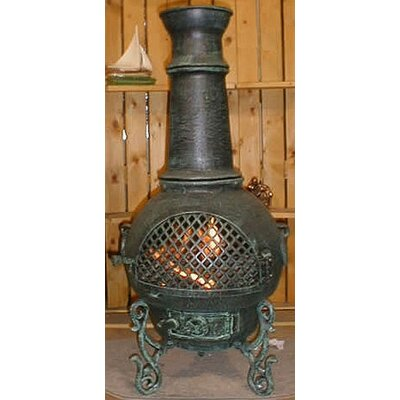Gatsby Style Chiminea with Gas Kit - Chiminea Color: Antique Green