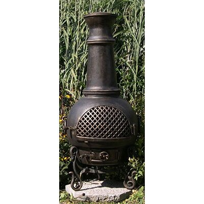 Gatsby Style Chiminea with Gas Kit - Chiminea Color: Gold Accent