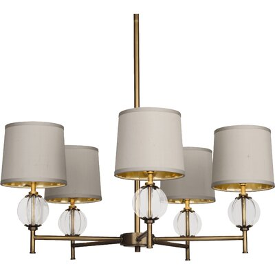 Latitude 5-Light Candle-Style Chandelier Finish/Shade: Aged Brass Finish with Glass Accents/Oyster Grey S