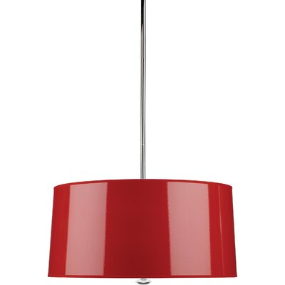 Penelope 3-Light Drum Pendant Finish: Polished Nickel with Red Shade